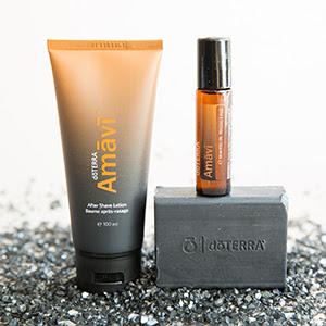 Amavi is een essentiële olie voor meer mannenkracht. Deze samenstelling zit in een roller en in een aftershave lotion. Daarnaast is er een heerlijke verzorgende zachte (scheer)zeep.